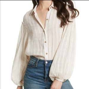 Free People Peasant Gauze Button Front Blouse